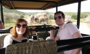 Janette Smith and boyfriend Tony encounter a family of elephants on safari in South Africa